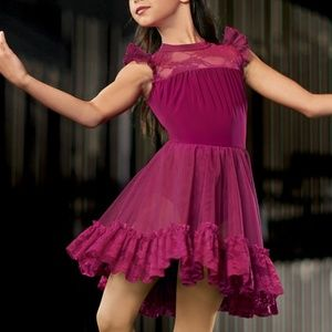 Weissman OOH CHILD Lace Ruffle Sleeve Day Dress
